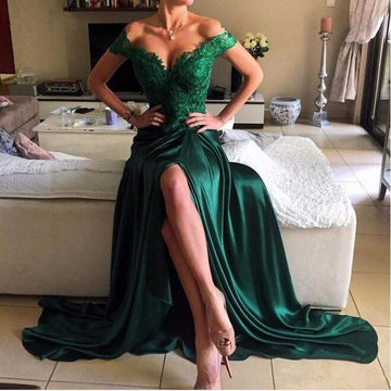 Long Green A-line Sleeveless Zipper Beading Prom Dresses 2018 Lace