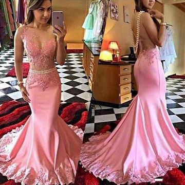 Long Sexy Mermaid Round Neck Sleeveless Appliques Prom Dresses 2018