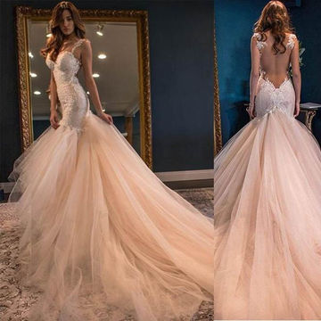Long Sexy Mermaid Straps Sleeveless Backless Appliques Prom Dresses 2018 Open Back