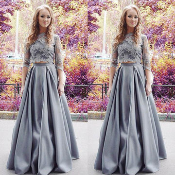 Grey A-line High Neck Long Sleeves Appliques Prom Dresses 2018 Two Piece