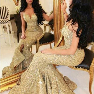 Long Sexy Gold Mermaid Spaghetti Straps Zipper Sequins Prom Dresses 2018