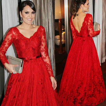 Sexy Red A-line V-Neck Long Sleeves Backless Bow(s) Prom Dresses 2018 Open Back Lace