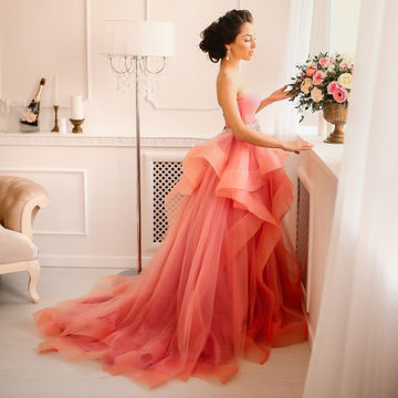 Long A-line Sweetheart Sleeveless Tiers Prom Dresses 2018