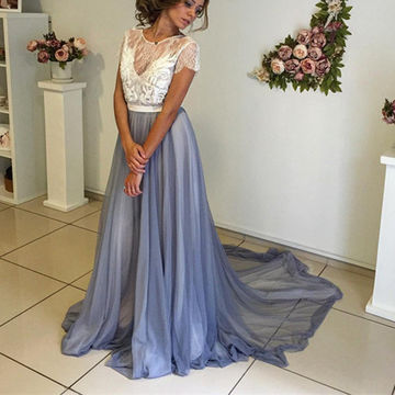 Long Sexy A-line Short Sleeves Backless Prom Dresses 2018 Open Back Chiffon Lace