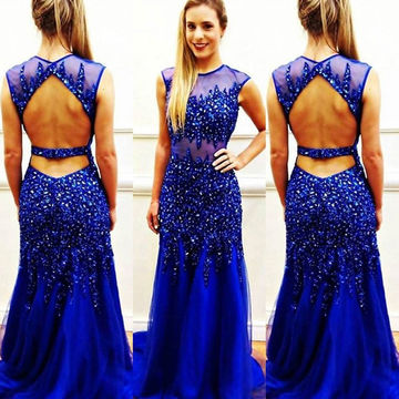 Long Sexy Blue A-line Sleeveless Backless Beading Prom Dresses 2018 Open Back