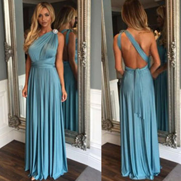 Long Sexy Blue A-line One Shoulder Sleeveless Backless Prom Dresses 2018 Open Back