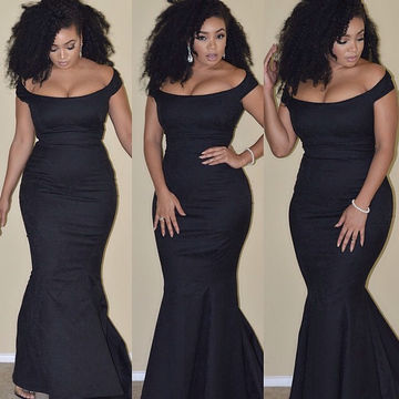 Long Black Mermaid Ruched Prom Dresses 2018