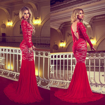 Floral Red Mermaid Long Sleeves Backless Prom Dresses 2018 Open Back Lace Sexy