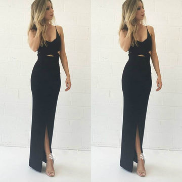 Black Spaghetti Straps Front-Slit Sheath Prom Dresses 2017