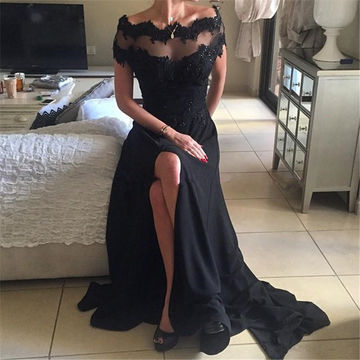 Long Floral Black A-line Short Sleeves Zipper Beading Prom Dresses 2018 Sexy