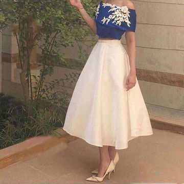 Cute A-line Short Sleeves Flowers Prom Dresses 2018 Vintage Two Piece