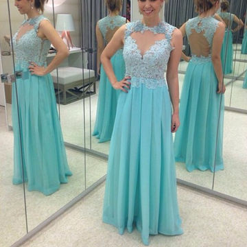 Long Sexy Blue A-line Queen Anne Sleeveless Appliques Prom Dresses 2018 Chiffon