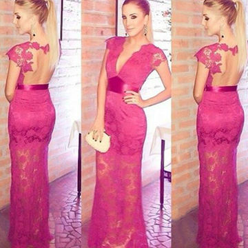 Long Floral Sheath V-Neck Short Sleeves Prom Dresses 2018 Lace Sexy