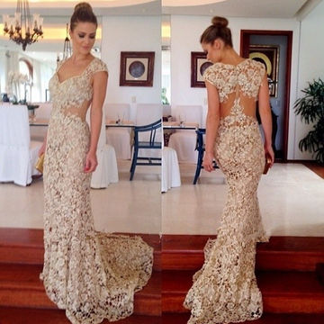 Long Mermaid Queen Anne Sleeveless Zipper Prom Dresses 2018 Lace