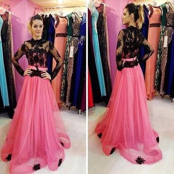 A-line Long Sleeves Zipper Prom Dresses 2018 Lace