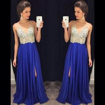 Long Blue A-line V-Neck Sleeveless Zipper Sequins Prom Dresses 2019 Chiffon