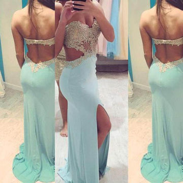 Long Blue Sheath Sweetheart Sleeveless Backless Prom Dresses 2018 Open Back