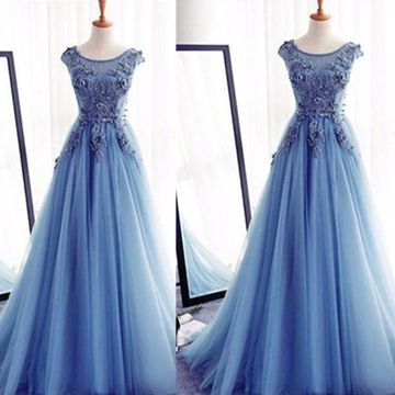 Appliques Lace Up Capped Sleeves A-line Tulle Prom Dresses 2018