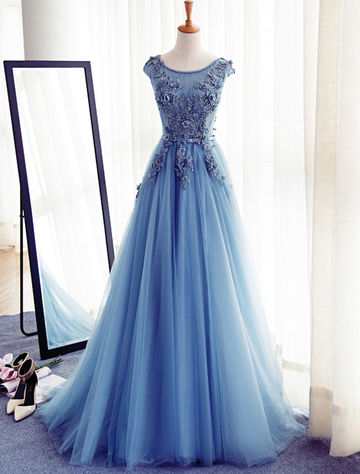 49%OFF Long Elegant Blue A-line Capped Sleeves Corset Appliques Prom ...