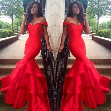 Long Sexy Red Mermaid Sleeveless Zipper Ruffles Prom Dresses 2018