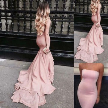 Long Mermaid Strapless Sleeveless Tiers Prom Dresses 2019
