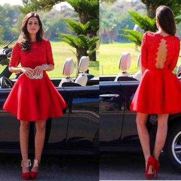 Red A-line Round Neck Half Sleeves Lace Prom Dresses 2018