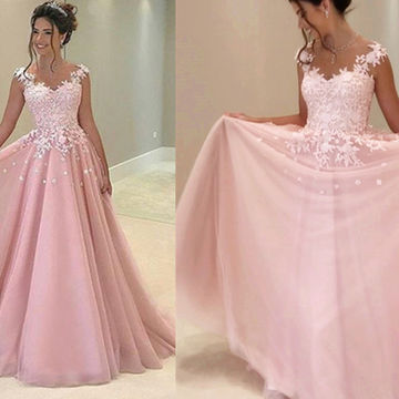 Long A-line V-Neck Sleeveless Backless Appliques Prom Dresses 2018 Chiffon
