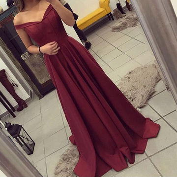 Long Red A-line Off-the-Shoulder Sleeveless Zipper Prom Dresses 2018
