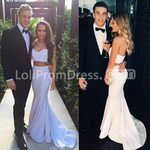 White Sweetheart Natural Mermaid Two Pieces Prom Dresses 2018 ...