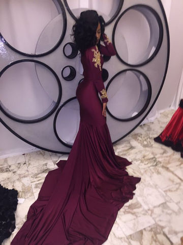 Burgundy Beading High-Neck Mermaid Stretch Satin Prom Dresses 2017