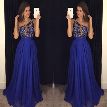 Long Blue A-line One Shoulder Sleeveless Beading Prom Dresses 2018 Chiffon