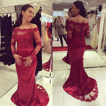 Red Appliques Off-the-Shoulder Mermaid Satin Prom Dresses 2018