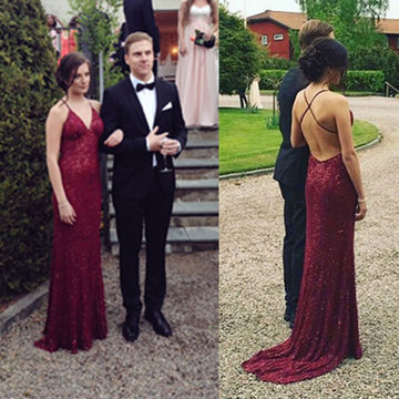 Long Sexy Red Sheath Spaghetti Straps Sleeveless Backless Sequins Prom Dresses 2018 Open Back