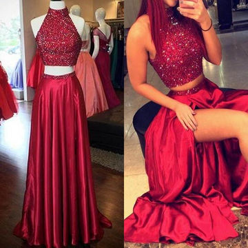 Long Sexy Red A-line High Neck Sleeveless Sequins Prom Dresses 2018 Two Piece