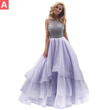Beading Tiers Ball Gown Organza Prom Dresses 2018