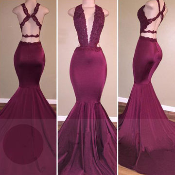 Long Sexy Burgundy Mermaid V-Neck Sleeveless Backless Appliques Prom Dresses 2018 Open Back