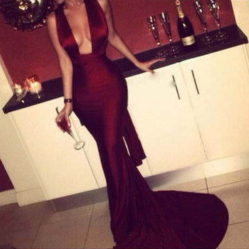 Long Sexy Mermaid V-Neck Sleeveless Criss Cross Prom Dresses 2018