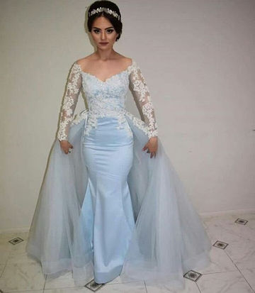 49%OFF Floral Blue Mermaid Long Sleeves Backless Prom Dresses 2018 ...