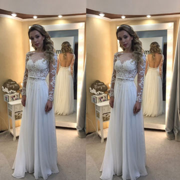 49 Off Fl White A Line Long Sleeves Backless Prom Dresses 2019 Open Back Chiffon Lace Lolipromdress