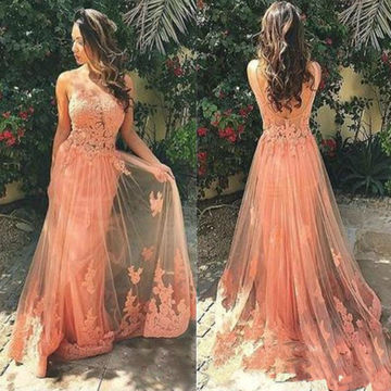 Long Elegant A-line Straps Sleeveless Backless Appliques Prom Dresses 2018 Open Back