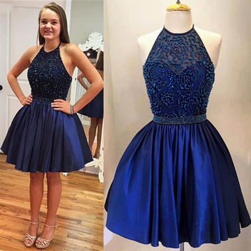 Cute Blue A-line Halter Sleeveless Beading Prom Dresses 2018