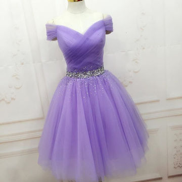 49off Cute Purple A Line Short Sleeves Beading Homecoming Dresses