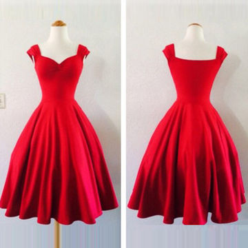 Simple Cute Red A-line Sweetheart Sleeveless Prom Dresses 2018 Vintage