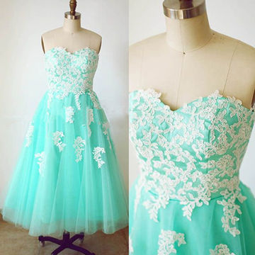 Mint Appliques Sweetheart A-line Knee-length Tulle Prom Dresses 2018