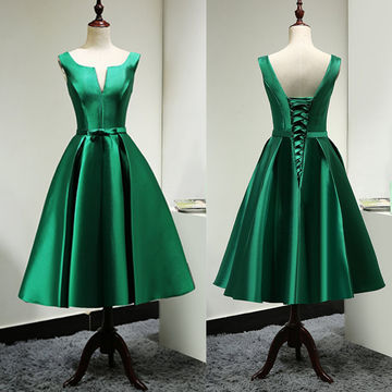 Simple Junior Green A-line Sleeveless Corset Prom Dresses 2018 Vintage