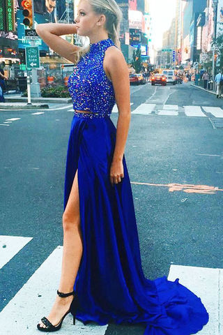 49%OFF Long Floral Blue A-line High Neck Sleeveless Zipper Beading ...