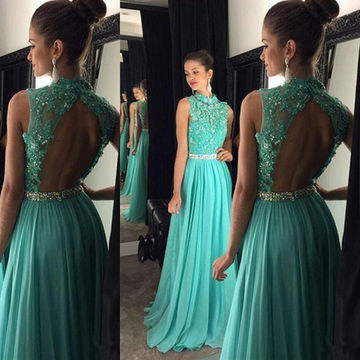 7ba5208eb0 49%OFF Long Floral Blue A-line High Neck Sleeveless Backless Beading ...