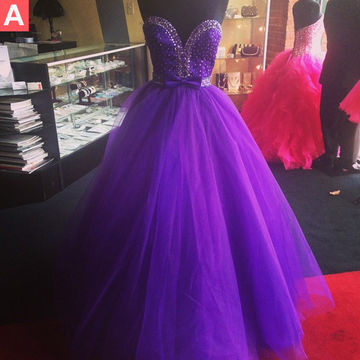 Long Purple Ball Gown Sweetheart Sleeveless Beading Prom Dresses 2018 Sexy
