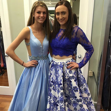 Blue Beading Backless A-line Satin Prom Dresses 2017
