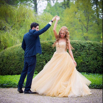 Long Sexy Yellow Ball Gown Sweetheart Beading Prom Dresses 2018